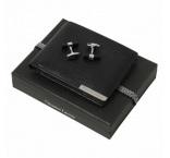 P200.651 - Pánsky set - kožená peňaženka a manžetové gombíky, darčekové balenie