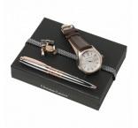 P200.653 - Set - kožené hodinky, guľôčkové pero, manžetové gombíky, darčekové balenie