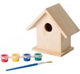 P842.042 - Drevená búdka pre vtáčiky s farbami a štetcom