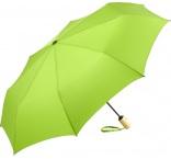 P930.323 - Automatický ECO skladací dáždnik z recyklovaných plastov s bambusovou rúčkou, priemer 98 cm