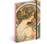 A-4364 - Notes Alfons Mucha – Prvosienka, linajkovaný, 13 × 21 cm