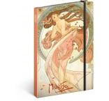 A-6190 - Notes Alfons Mucha – Tanec, linajkovaný, 13 × 21 cm