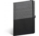 A-8763 - Notebook Skiver, čiernosivý, linajkovaný, 13 × 21 cm