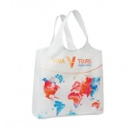 MB1007 - Foldable polyester shopping bag with single layer handles and pouch. Min 250 pcs