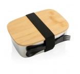 P269.622 - Nerezová krabička na jedlo s bambusovým vekom a príborom