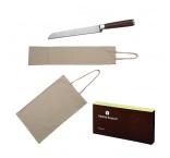 ABADAN - VS | Sada 2 bavlnených vreciek na pečivo a noža na chleba v krabičke