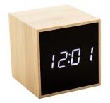 P411.558 - Bambusový digitálny budík a teplomer s bielym LED displejom
