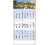 PGN-30008-SK-L - Nástenný kalendár 3–mesačný Tatry modrý – so slovenskými menami 2022, 29,5 × 43 cm